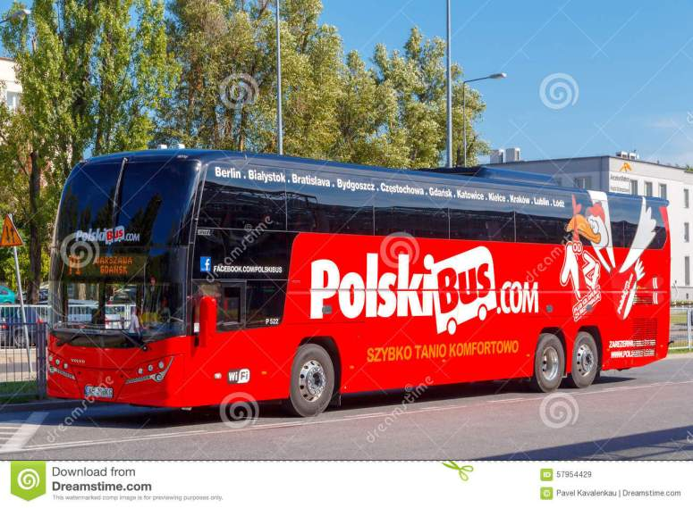 warsaw-bus-poland-july-polish-company-one-main-passenger-carriers-volvo-buses-comfortable-roomy-car-57954429