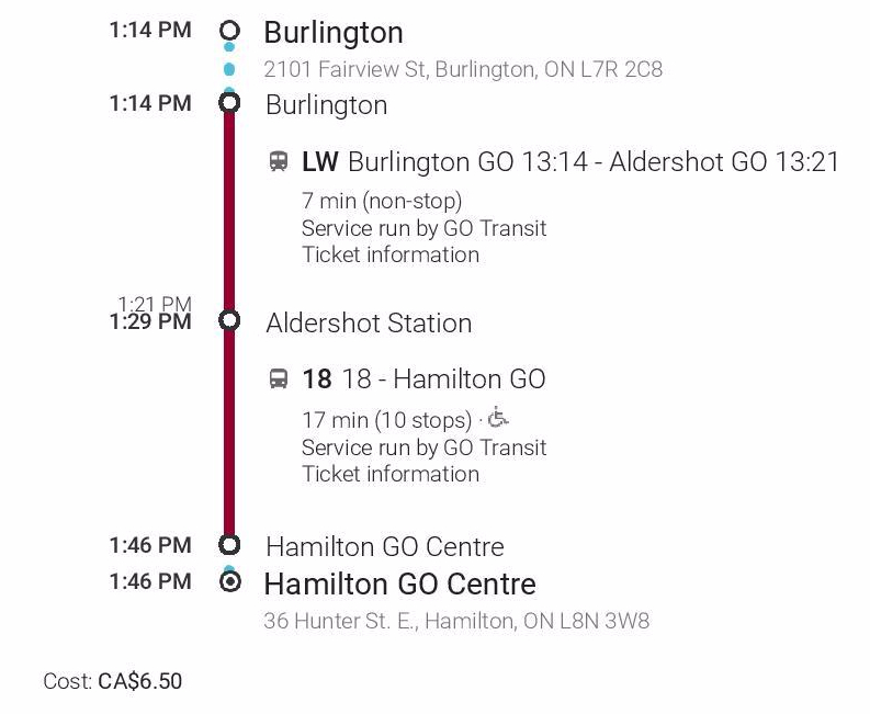 Burlington to Hamilton GO Centre - Midday